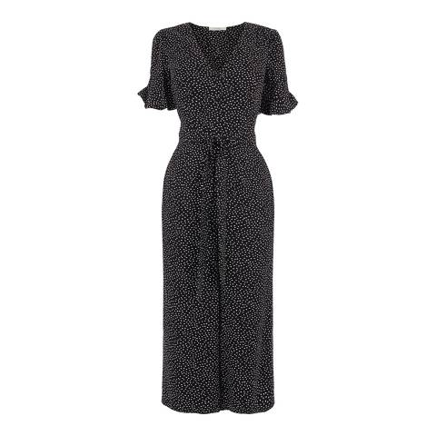 Oasis Navy Spot Button Front Jumpsuit