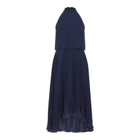 Oasis Navy Chiffon Pleated Midi Dress