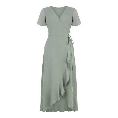 Oasis Khaki Chiffon Wrap Midi Dress