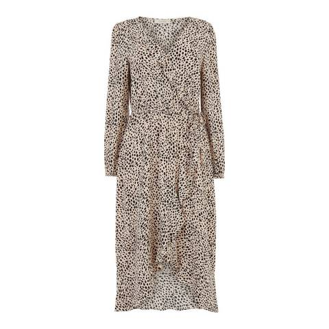 Oasis Animal Print Wrap Midi Dress