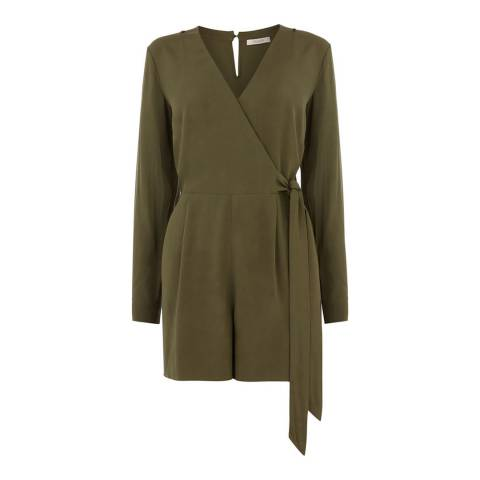 Oasis Green Sleeved Wrap Playsuit