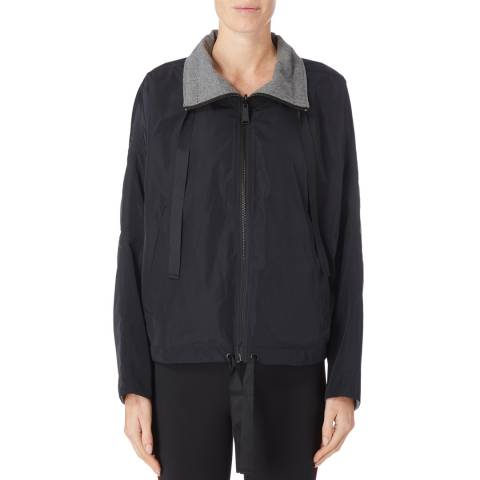 DKNY Black/Grey Reverse Funnel Neck Jacket