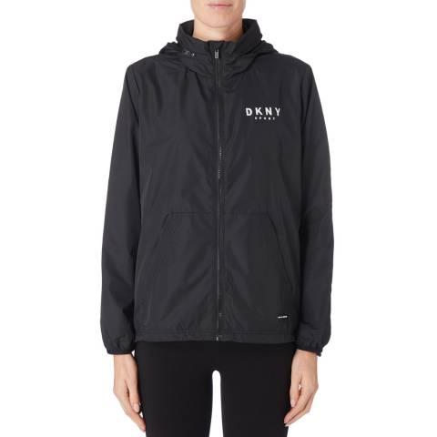DKNY Black Hood Jacket With Logo