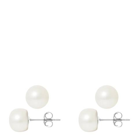 Just Pearl Natural White Gold Pearl Earrings 9-10mm