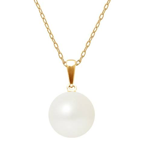 Just Pearl Natural White Yellow Gold Button Pearl Pendant Locket 9-10mm