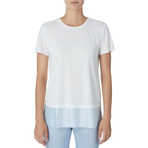DKNY White Pleated Hem T-Shirt
