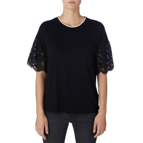 DKNY Black Lace Trimmed Sleeve Top