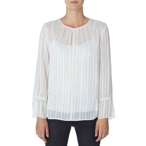 DKNY White Long Sleeve Sheer Blouse
