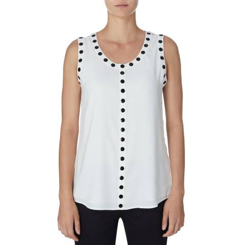 DKNY White Sleeveless Crew Neck Top