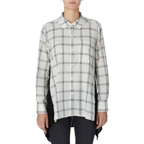 DKNY Ivory/Multi Long Sleeve Trapeze Shirt