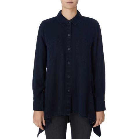 DKNY Navy Long Sleeve Trapeze Shirt