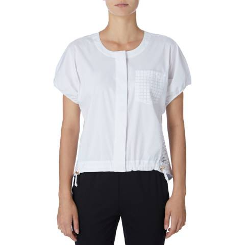 DKNY White Buttoned Through Top