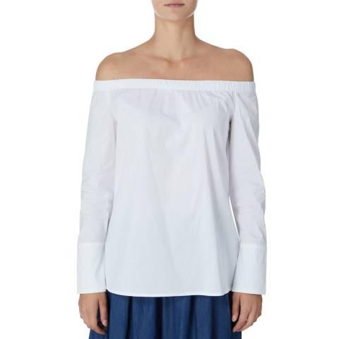 DKNY White Bardot Long Sleeve Top