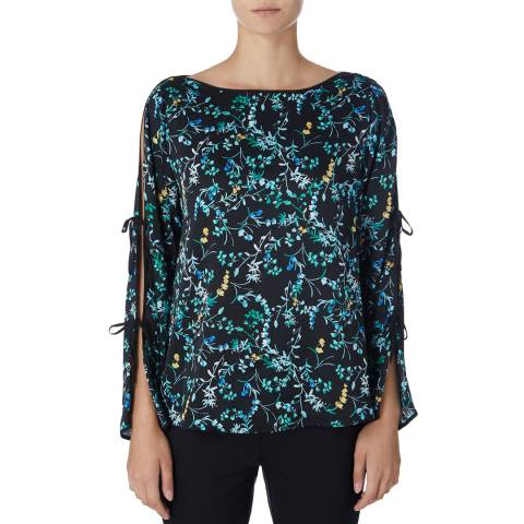 DKNY Multi Boat Neck Printed Blouse