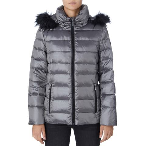 DKNY Silver Shiny Puffer Coat