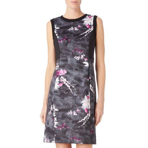 DKNY Black/Multi Sleeveless Crew Neck Dress
