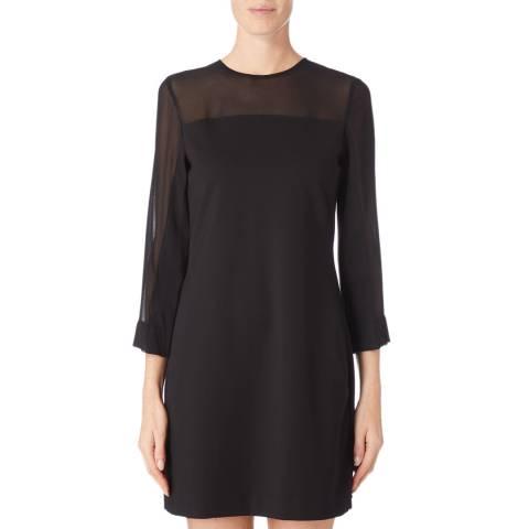 DKNY Black Crew Neck Sheer Dress