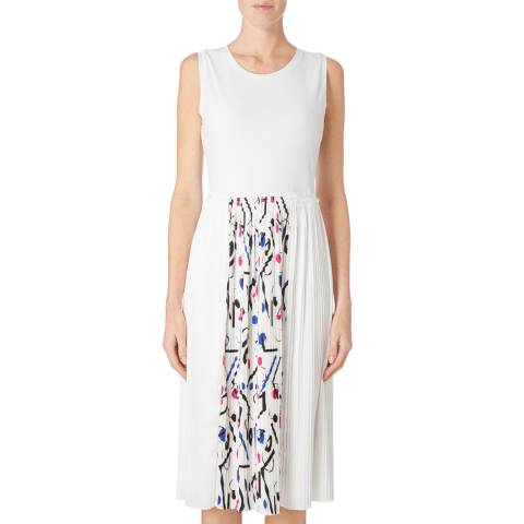 DKNY Ivory Sleeveless Pleated Dress