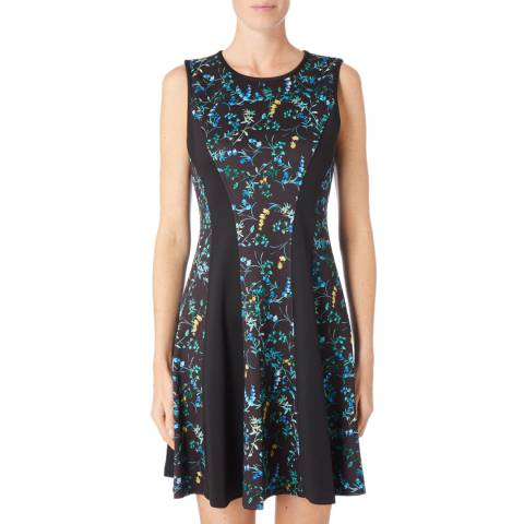 DKNY Black/Multi Crew Neck Printed Dress