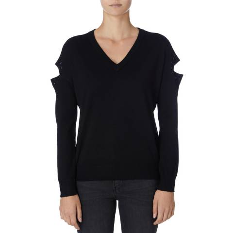 DKNY Black Long Sleeve V Neck Top