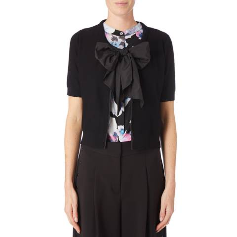 DKNY Black Short Sleeve Tie Front Top