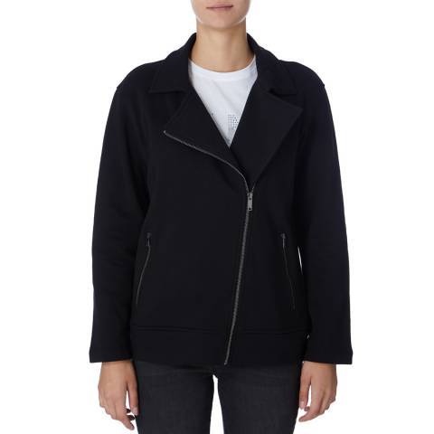 DKNY Black Moto Zip Sweatshirt
