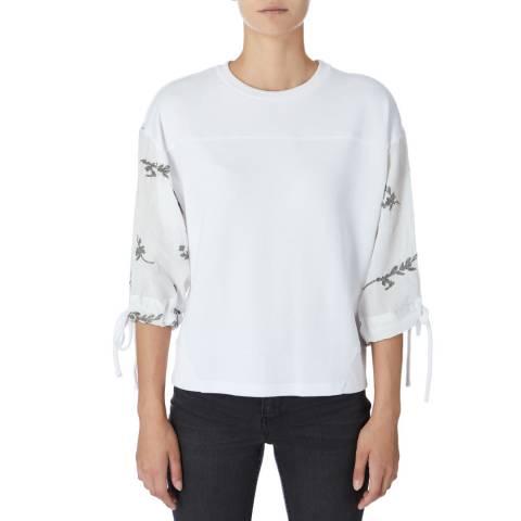 DKNY White 3/4 Sleeve Sweatshirt