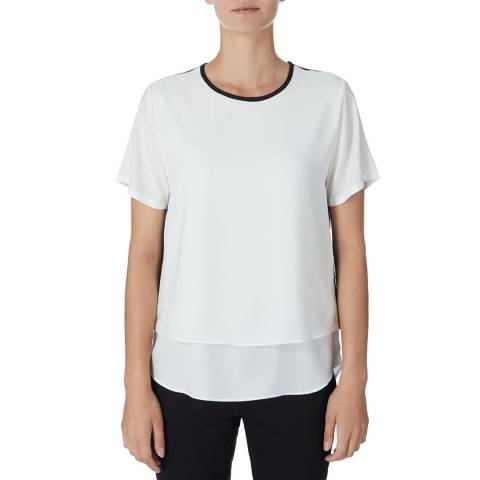 DKNY White/Black Scoop Neck Top