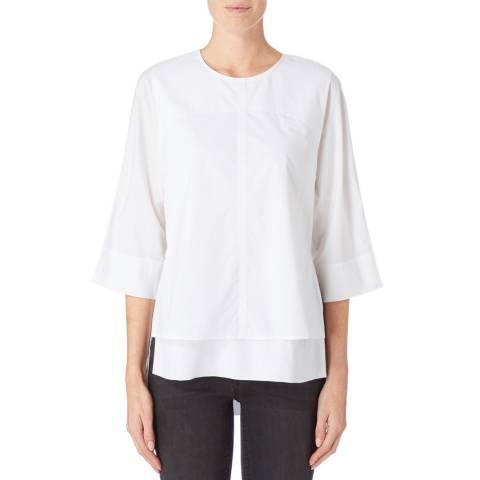 DKNY White Dropped Hem Shirt