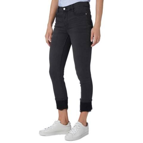 DKNY Black Skinny Lace Trim Jeans