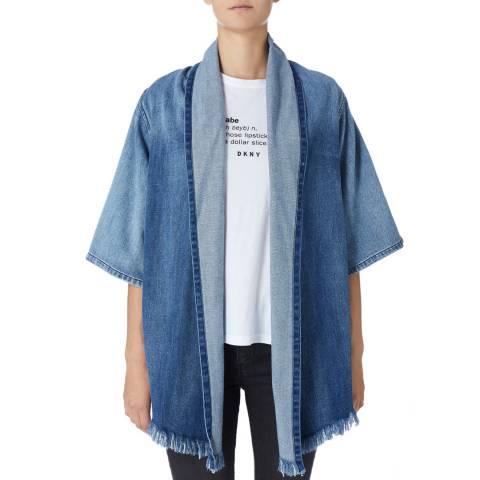 DKNY Blue Draped Front Jacket