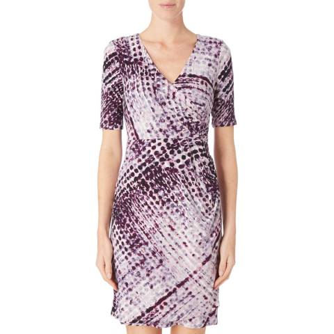 DKNY Multi Elbow Sleeve V Neck Dress