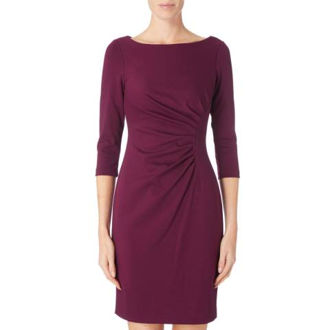DKNY Purple Long Sleeve With Ruffle Dress