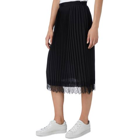 DKNY Black Pleated Lace Trim Skirt