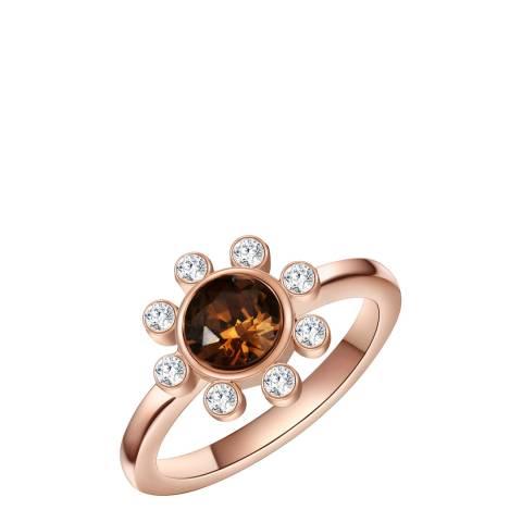 Saint Francis Crystals Rose Gold/Brown Crystal Ring