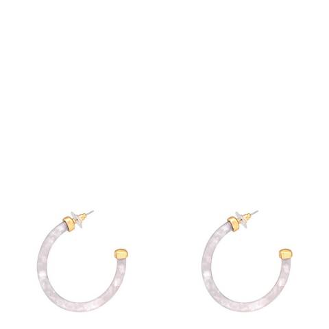 Liv Oliver White Shell Hoop Earrings