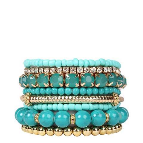 Chloe Collection by Liv Oliver 18k Gold Multi Turquoise bead & crystal Bracelet Set