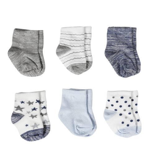 Aden & Anais Funny Stars Set Of 6 Cotton Crew Socks