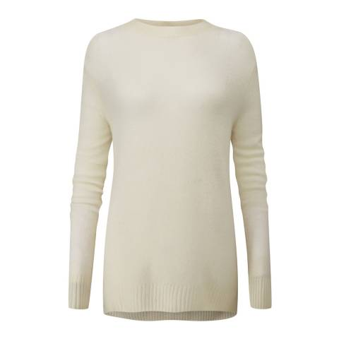 Pure Collection Off White Dipped Cashmere Jumper