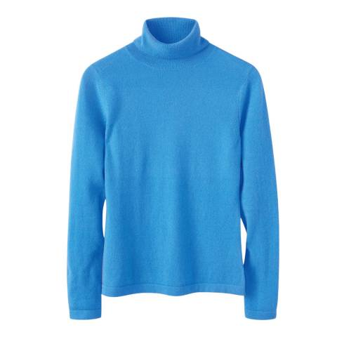 Pure Collection Blue Roll Neck Cashmere Jumper