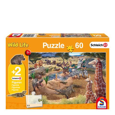 Coiledspring Games Schleich At the Watering Hole Puzzle with two figures (60pc)