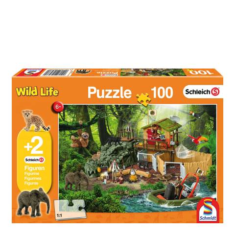 Coiledspring Games Schleich Croco Research Station Puzzle with two figures (100pc)