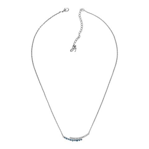 Adore by Swarovski® Silver Blue Pave Round Curved Bar Necklace