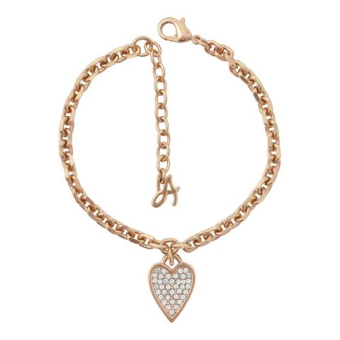 Adore by Swarovski® Rose Gold Plated Open Heart Charm Bracelet