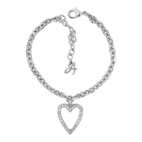 Adore by Swarovski® Silver Open Heart Charm Bracelet