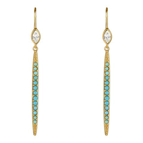 Adore by Swarovski® Gold Plated Turquoise Linear Bar Earrings