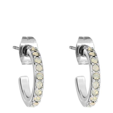 Adore by Swarovski® Silver White Opal Pave Hoops