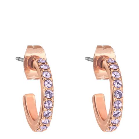 Adore by Swarovski® Rose Gold Violet Pave Hoops