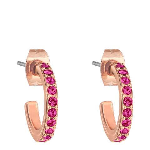 Adore by Swarovski® Rose Gold Pink Pave Hoops
