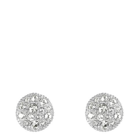 Adore by Swarovski® Silver Metallic Pave Disc Stud Earrings